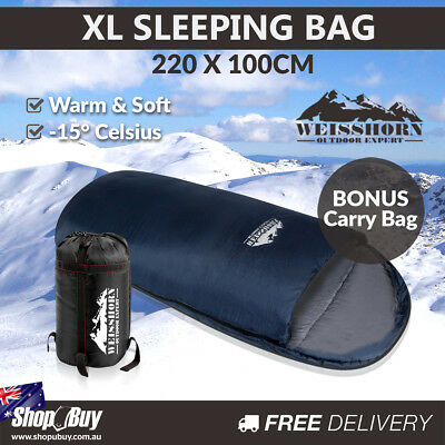 Outdoor Camping Pebble-shaped Extra Large Sleeping Bag Blue and Grey 220 x 100cm