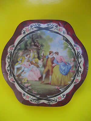 red vintage round peek freans biscuits tin 1940s historical garden party