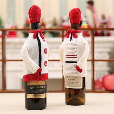 Christmas Knit Wine Bottle Cover Sweater Matching Hat Gifts New JJ