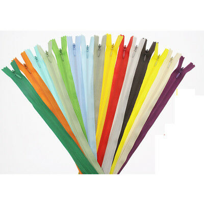 10pcs Invisible Closed End Zip Nylon Zippers Concealed Zipper 20/60cm Multicolor