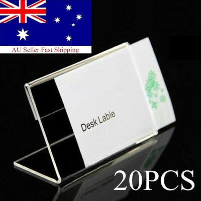 20pcs Acrylic Sign Display Holder Label Price Name Card Tag Shop Stands 9cmx6cm