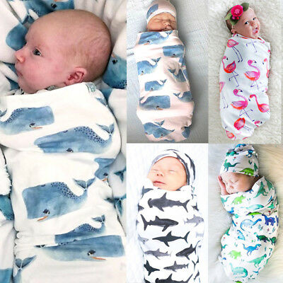 Newborn Baby Girl Boy Infant Cotton Swaddle Blanket Sleeping Bag Hat Muslin wrap