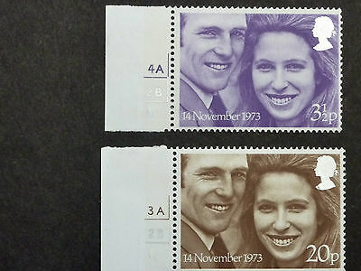 577] - Gb Stamps - 1973 Royal Wedding - Set With Side Controls - Mint N/h