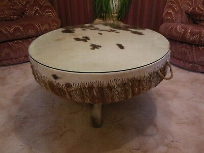 Centrepiece African Drum Coffee Table With Removable Gl