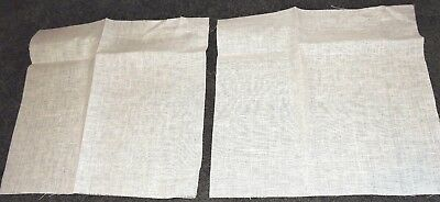 2 Pieces White Fine Linen Embroidery Cloth Cross Stitch Crewel 26Ct 34cms Square