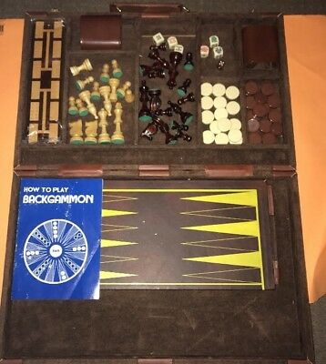 Backgammon And Chess PU Leather Vintage Cream And Brown
