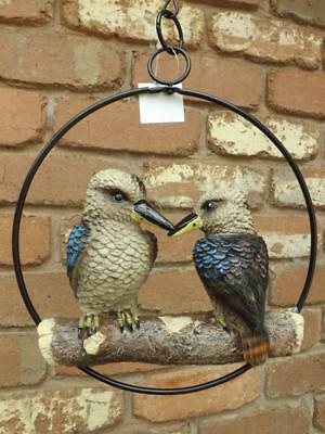 20cm REALISTIC HANGING TWIN KOOKABURRAS POLY- RESIN IN RING GARDEN STATUE NEW