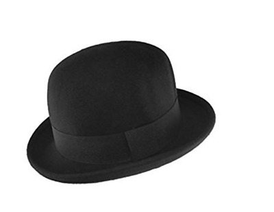 ae628bc19ac1 Maz 100% Wool Felt Soft Crushable Bowler Hat (satin lined) in Black -