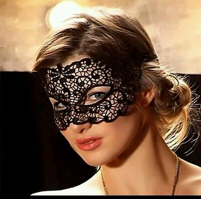 MASQUERADE MASK BLACK LACE womens ladies fancy dress accessory 50 shades