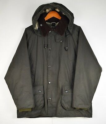 Barbour MWX0018SG91 Bedale Wax Jacket Mens Sage Green Hood c42 107cm Tartan