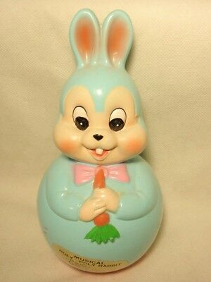 Japan Musical Roly Poly Blue Easter Rabbit *As-Is*