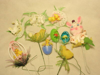 Lot Vintage Plastic Blow Mold Flocked Easter Chick Rabbit Flower Picks *As-Is*