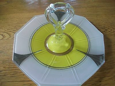 Indiana Depression Glass Octogonal Shape Sandwich Plate Center Handle