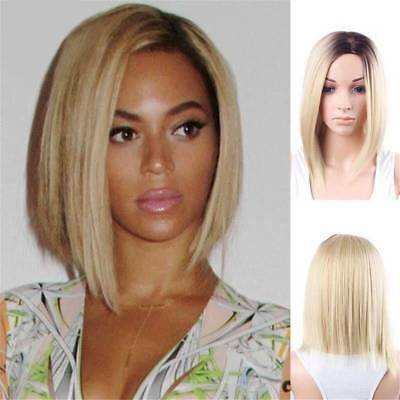 Bob Straight Synthetic Hair Wig Ombre Blonde Side Part Dark Roots Short Wigs US