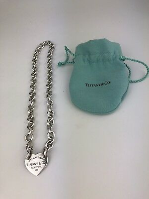 "Tiffany & Co. Return To Heart Chain Sterling  Silver Necklace 16"" HEAVY"
