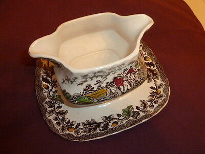 Vintage Myotts Country Life Fused Double Spouted Gravy Boat/stand,hand Engraved