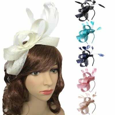 New Feather Looped Headband Alice Band Fascinator Ladies Day Wedding Royal Ascot