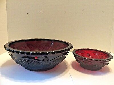 Vintage Avon Centennial Edition 1886-1986 Cape Cod Ruby Red Glass Bowls