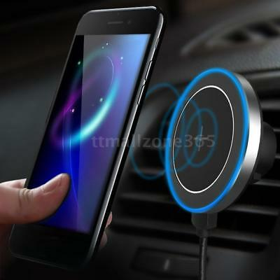Qi Wireless Car Charger Magnetic Mount Holder For Samsung S8 Note 8 IPhone C8Q2