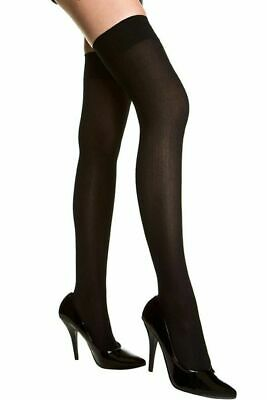 Black Opaque Thigh High Stockings