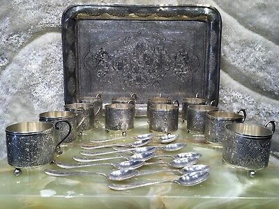 25 pieces VTG HAND MADE PERSIAN SOLID 90 SILVER JUICE &TEA COFFEE SET 3500 grams