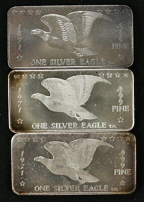 1971 .999 Fine Silver 1 Oz Bar Wh Foster One Silver Eagle Lot Of 3 (4437)