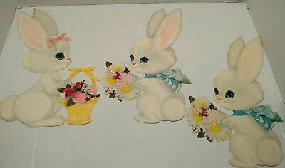 Vintage Easter Paper Die Cut Decoration Bunny Set of (3)  Boy & Girl T8