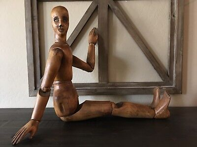 Antique French 19th Century Hand Carved Articulated Wood Artist Mannequin Doll