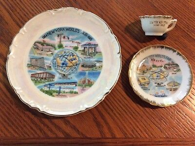 1964-1965 New York World's Fair Plates & Cup set .....Very Nice Condition !!!