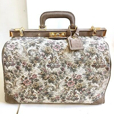 9622d2e2a45b Vtg French Luggage Co Tapestry Carry On Train Case Bag Paradise Floral Grey  Rose