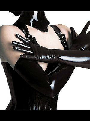 """Latex Look Sexy Black Faux Long Black Gloves 18"""""""