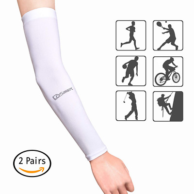 White Silk UV-Protection Unisex Cooling Arm Sleeves For Outdoor Sports NEW HOT