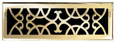 """Solid Cast Brass Victorian 4"""" X 14"""" Floor Register In Polished Brass Finish Mode"""