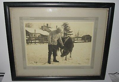 MID 20th CENTURY FRAMED PHOTO - FARMER AND COW - FOUND DUTCHESS COUNTY NY