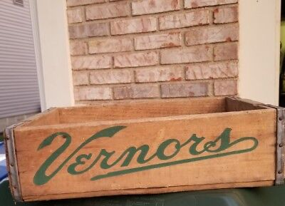 VINTAGE VERNORS WOOD CRATE brass boxes 1965