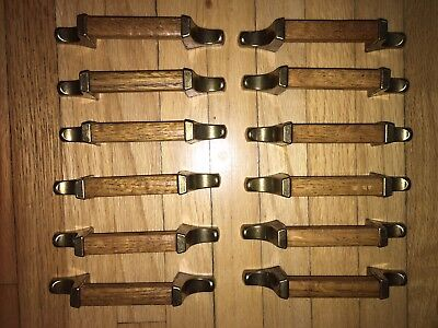 Lot of 12 Mid-Century Drawer Pulls Handles Wood Brass Hardware Vintage Retro
