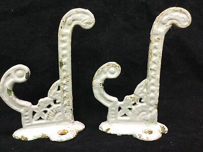 Pair 2 Antique Victorian Eastlake Cast Iron Hooks Very Ornate - Damage Free
