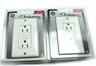 Lot of 2 GE General Electric Duplex Receptacle Designer Collection GFCI 15A-125V