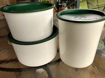 Lot of 3 Tupperware One Touch Canisters 2710A 2709A 2420D w/ Green Lids