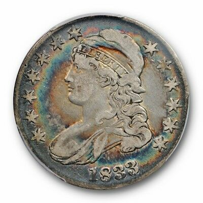 1833 50C Capped Bust Half Dollar PCGS VF 25 Very Fine Rainbow Toned Colorful