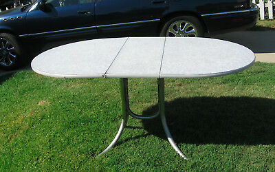 Virtue Brothers Oval Drop Leaf Formica Top Table w/Chrome Legs LOCAL PICKUP ONLY