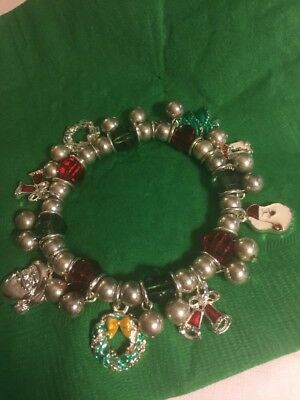 Christmas In July. Beautiful Stretch Silver Bracelet With charms