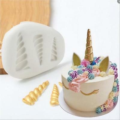 3D Cute Unicorn Horn Ear Rainbow Silicone Candy DIY Cake Mould Decor Tool MG