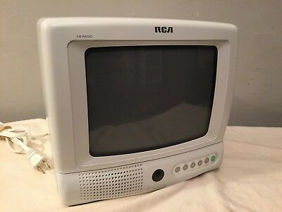 """Vtg Rca E09310Wh 9"""" Color Crt Tv Television White Retro Gaming Monitor Tested"""