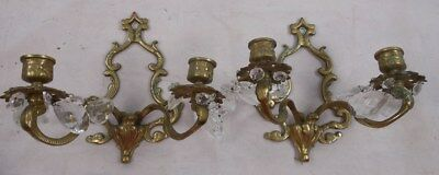 Antique Pair of Brass Candle Wall Sconces With Crystal Prisms