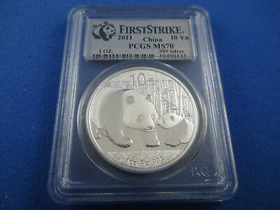 2011 China Panda Silver Coin - 10 Yuan - First Strike Pcgs Ms70.