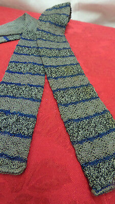 Mens  vintage 1920's-30's  knit square bottom stripe necktie