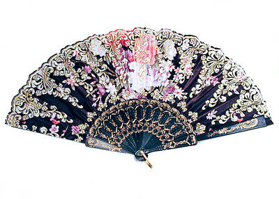 Ladies Satin Flower Glitter Folding Hand Held Fan Parties Dancing Costumes -A235