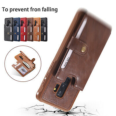 Leather Flip Wallet Card Holder Case Cover With Strap For Samsung Galaxy S8 S9