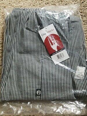 """NEW Chef Works NBCP-000-L Checkered Baggy Designer Chef Pants """"Large"""""""